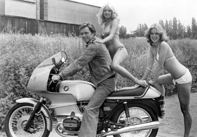 Ian Ogilvy on his BMW Motorcycle
