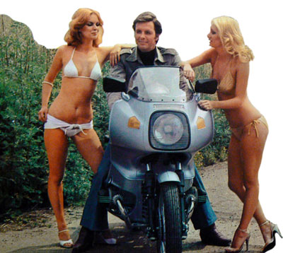Ian Ogilvy and the motorcycle girls