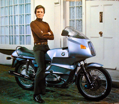 Ian Ogilvy and his BMW Motorcycle